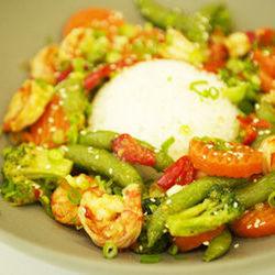 Organic Shrimp and Organic Vegetable Sauté